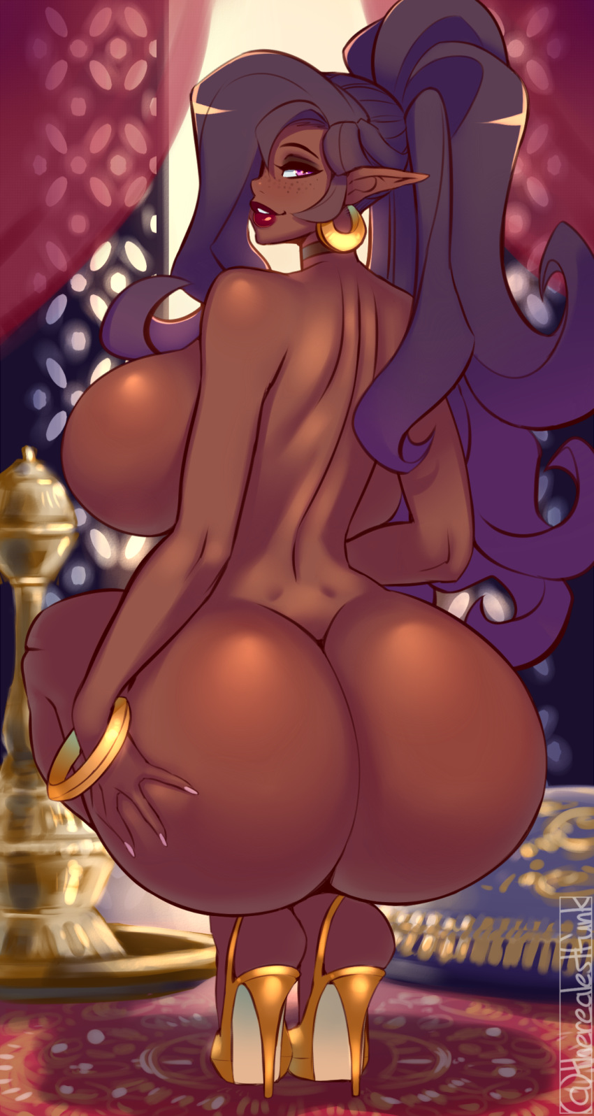 queen for butt a slug Black skinned anime girl with afro